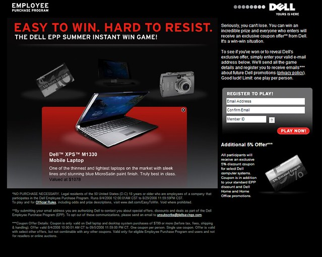 Dell EPP Summer Instant Win - Landing page by tenfour archive