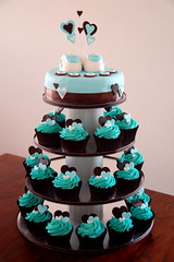 Jaxon's Christening Cupcakes (TheLittleCupcakery) Tags: blue tower cupcakes heart little chocolate cupcake christening tier tlc cupcakery xirj klairescupcakes