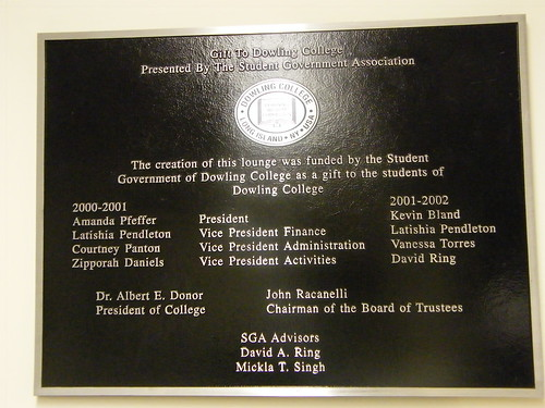 Student Lounge Plaque