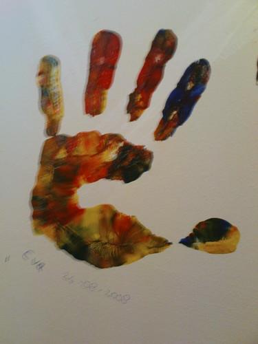 Eva's hand in Wilfred's toilet