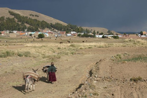 A Woman and her Donkey. Titicaca - Bolivia 2008.