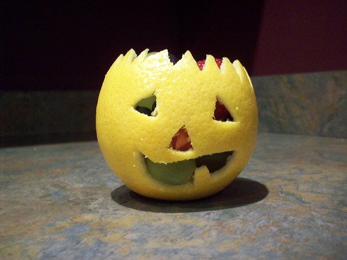 orange Jack-o-lantern fruit cup