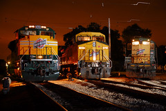 A Line Up of a Lifetime (M. Lastovich) Tags: railroad up night train headlight 1995 ge emd irm gp9 illinoisrailwaymuseum cnw 8646 c449w sd70ace