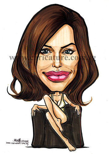 Celebrity caricatures - Angelina Jolie colour watermark