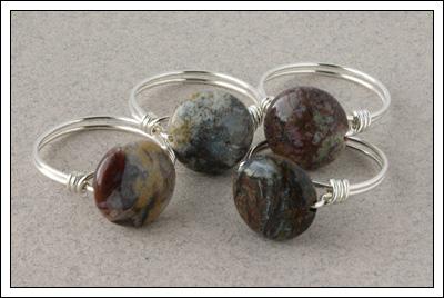 Pietersite & silver rings