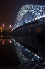 Runcorn Bridge (John_Kennan) Tags: construction display fireworks guyfawkes firework mersey bonfirenight november5th jubileebridge runcorn widnes halton runcornbridge