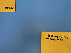 hello (oblivion head) Tags: hello blue yellow wall sticker postit richie change lionel obama barack messageforobama