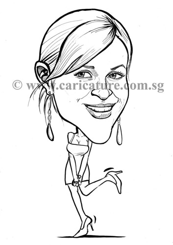 Celebrity caricatures - Reese Witherspoon ink watermark