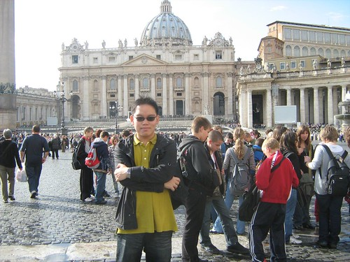 Standing before St. Peter's Basilica at Vatican City