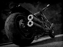 NIGHT ROD SPECIAL B&W (~lp1986soldier~) Tags: night photoshop cs2 harley special company hyde rod hd davidson exhaust groundfloor jekill ghostbones speciaal vpower kevindooley lp1986soldier