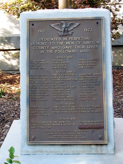 Simpson Co., KY war memorial