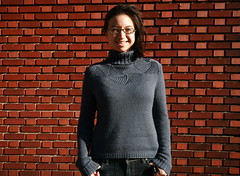366.321  swirled pentagon pullover (mintyfreshflavor) Tags: selfportrait brick knitting tripod knit explore year2 remotecontrol fos colrain 365days knittingnature exploretop100 366days explore75 valleyyarns 365more swirledpentagonpullover
