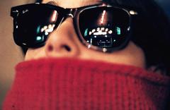 Cinema (po-pad) Tags: red black paris colour film sunglasses night scarf fuji superia scan 400 fujifilm wayfarer rayban xtra nikonfm3a 75005 zeisszf50mm 14 cinemadupantheon