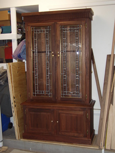 Walnut U0026 Stained Glass Gun Cabinet
