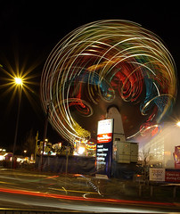 Give us a Twirl (simonjames2) Tags: nottingham longexposure night spiral shot patterns curves tesco explore carpark atnight extra lightmovement longeaton chestnutfair onblack lighttrail notts scribing sigma1770mm pentaxk10d ng10 simonjames2