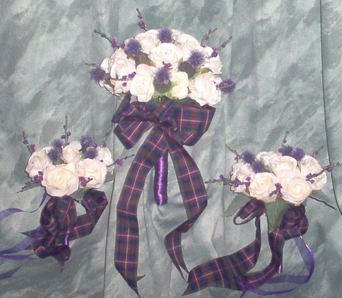 """cheryl"" brides & bridesmaids(7&10yr olds) posy of roses/thistles/heather by you."