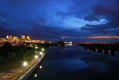 Calmness (Firdaus Mahadi) Tags: light sunset sky clouds landscape lights scenery explore bluehour putrajaya awan malam langit pemandangan lampu wawasanbridge jambatanwawasan tokina1116mmf28 firdausmahadi firdaus