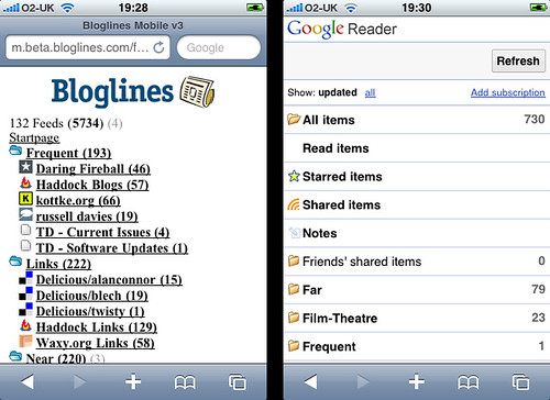 Bloglines Beta mobile vs Google Reader mobile (1)