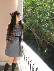 knee highs and plaid bows (bloomingleopold) Tags: autumn wardroberemix vintage outfit dress urbanoutfitters gray southcarolina charleston thrift bow etsy plaid hm kneehighs forever21 bloomingleopold