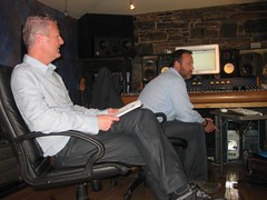 Ciaran and Sean Paul listen to the actors during recording