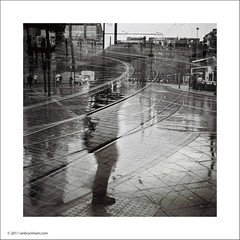 Piccadilly Tram Lines (Ian Bramham) Tags: street blackandwhite bw film mediumformat square manchester photography photo exposure image fineart double photograph ilford zeissikonnettar super400 ianbramham welcomeuk