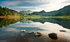 An Early Morning on Blea Tarn (.Brian Kerr Photography.) Tags: trees light sky clouds reflections landscape nationalpark stones sony lakes lakedistrict earlymorning cumbria alpha langdales bleatarn a700 briankerrphotography