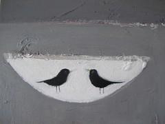 the blackbird bowl - detail (cathy cullis) Tags: stilllife birds painting ceramics acrylic canvas buttercups