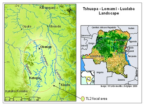 Congo River Map. on the Upper Congo River