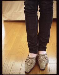jeans and mules portrait (miwas) Tags: selfportrait film feet me japan 35mm legs olympus jeans 35mmfilm halfframe mules pend expiredfilm skinnyjeans