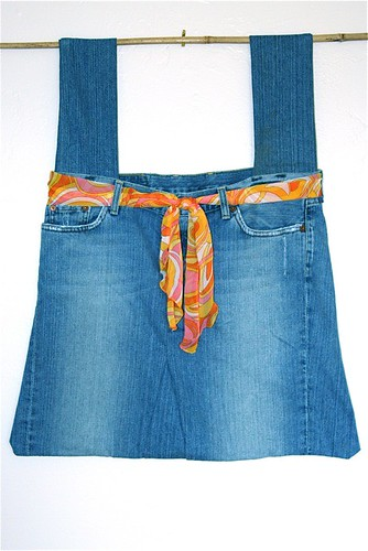 Shopping Tote Made From A Pair Of Old Jeans