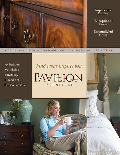 Pavilion Furniture showroom advertisement, photography by David Bickley