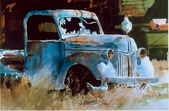 Hood Ornament (rock4art) Tags: chickens watercolor rusting
