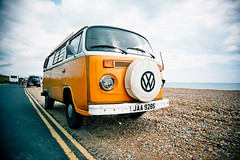 Camper on the Beach (AndyWilson) Tags: film beach vw 35mm volkswagen camper vivitar c200 fujicolor cooden wideslim wih08 hic77 chpe08 awch09 ajwch