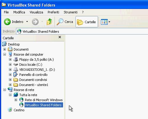 Fig. 2 - cartelle condivise - in Risorse di rete del guest
