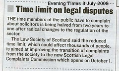Time Limit on Legal Disputes Evening Times July 8th 2008