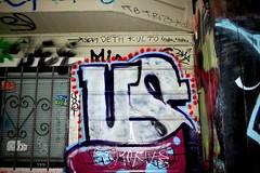 US, pi, tofu, tetra... (caffeina) Tags: sf sanfrancisco street city window graffiti us alley graf tofu stickers zee tags pi bayarea tetra dye sb clarion deth handstyles kult bkf sfk slaptags