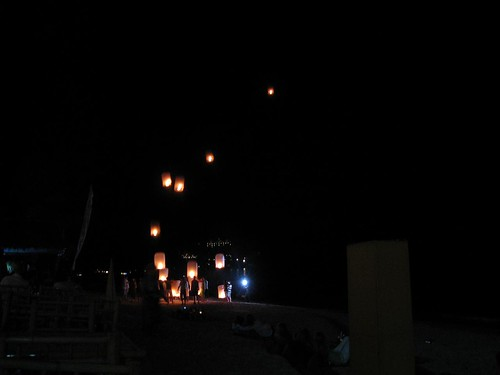 Traditional Thai lanterns (lit for good luck)