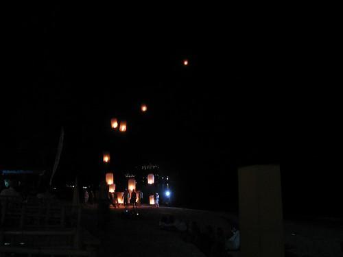 Traditional Thai lanterns (lit for good luck)