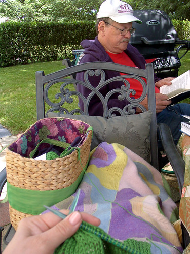 knitting in the backyard with my DH