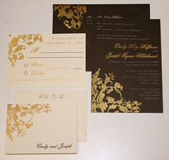 Wedding Invitations - Emily and Joseph (UglyKitty) Tags: wedding brown gold thankyou ivory gocco card swirl custom weddinginvitations stationary alchemy rsvp uglykitty invitaiton