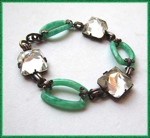 Antique Art Deco Bracelet Bohemian Crystal Domes w Green Glass Links