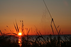 Spiderweb at sunrise (KarenR-TB) Tags: sunrise web spiderweb lakesuperior blueribbonwinner damniwishidtakenthat