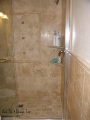 Custom travertine shower