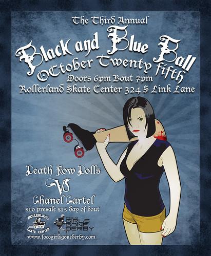 FoCo Girls Gone Derby Black and Blue Ball