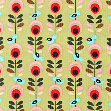 Olive Bird corduroy fabric