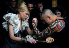 Tough Bi**h! (Rekanyari) Tags: newyorkcity portrait muscles fashion lady bar makeup theannex tattoos blond armwrestling accessory