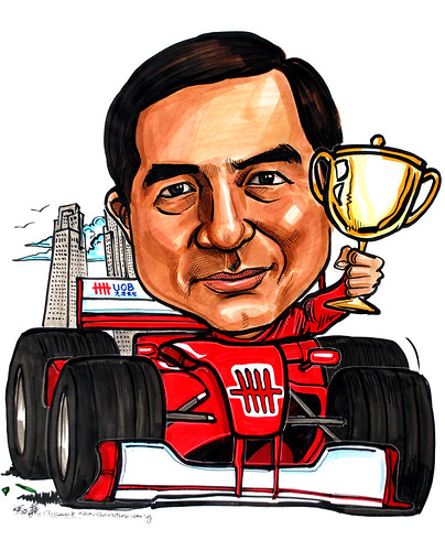 Caricature for UOB Plaza Formula 1 trophy