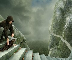 preparation (Mattijn) Tags: autumn mountains rock stairs danger cat fear vertigo surreal hoody photomontage preparation
