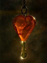 Honey Love.. (Sea Moon) Tags: love amber heart drop honey pendant jewel glistening