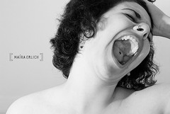 bigmouth strikes again (maíra erlich) Tags: portrait bw selfportrait girl mouth crazy nikon bigmouth sextaposer emotion deception pb piercing bn desperate scream curl mad desperation poserfriday d80 maíraerlich themerevive